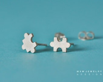 Sterling Silver Tiny Puzzle Stud Earrings