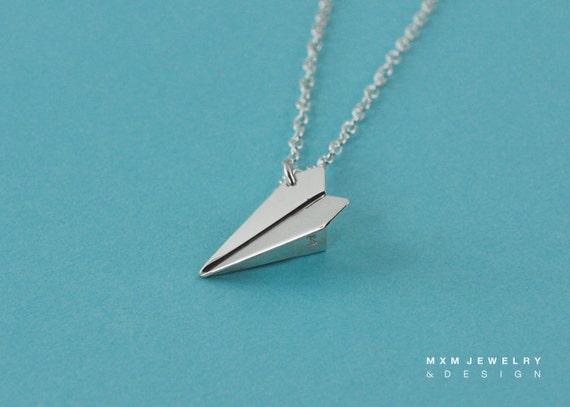 Medium / The Original HandFolded Paper Airplane (Fold Bottom) Necklace