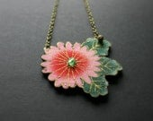 Necklace with pink flower and green leaves - colorful fabric - hand sewn