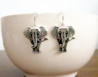 Sterling Silver Elephants earrings, whimsical jewelry, elephant jewelry, animal earrings, animal jewelry, elephant jewelry