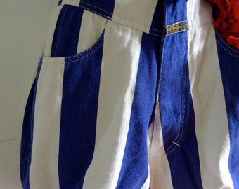 SALE Vintage pirate shorts in blue white striped cotton