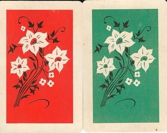 Vintage Playing Cards Orange Green Floral white flower paper ephemera scrapbooking collage altered art paper Crafts 4 each of 2 designs