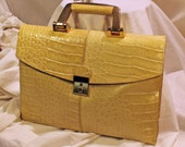 Reserved - Vintage 1980s Amelia Berko Pearly Tan Leather Croc Briefcase Clutch Purse Handbag - iPad Netbook