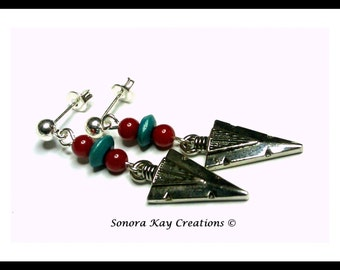 Arrowhead Earrings with Red Coral and Turquoise Wood Accents