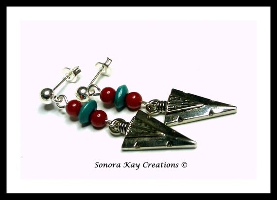 Ready to Ship Arrowhead Earrings with Red Coral and Turquoise Wood Accents