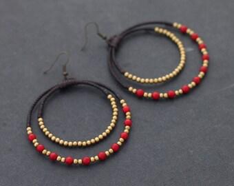 Coral Chandelier Circle Brass Earrings