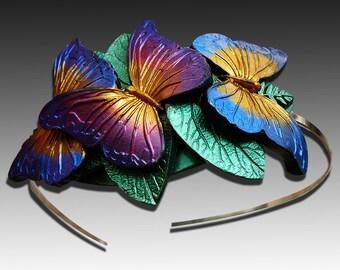 Butterflies polymer clay headband
