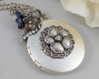 Fairy Bloom,Locket,Silver Locket,Blossom,Flower,Blue,Fairy,Antique Locket,Night,Floral,Jewelry. Handmade jewelry by valleygirldesigns.