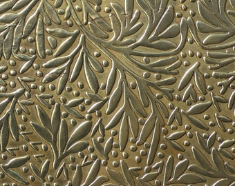 Brass Sheet Textured Metal Sheet  Forest of Leaves Pattern 22g - 6 x 2 1/4 inches Bracelets Pendants Metalwork