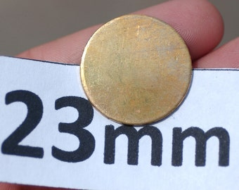 Brass 23mm Disc Blank 20G Cutout for Enameling Soldering Stamping - Jewelry Supplies 8 Pieces