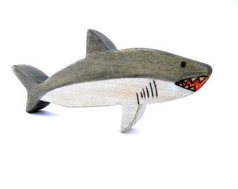 great white shark wooden toy, wooden waldorf toys, wood toy animals, shark toy