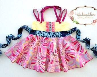 Roundabout Top and Dress PDF Sewing Pattern, including sizes 6months-8,years, Girls Dress Pattern