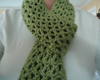 Woman's Crocheted Lacy Scarf for All Seasons in Green