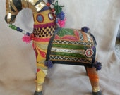 Vintage Rajesthani Cloth Sewed Shisha Horse Indian Folk Art