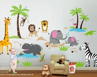 Safari Jungle Animals HUGE Wall Decal Set Monkey Giraffe Elephant Lion Zebra Tiger Crocodile Hippo Nursery Kids Playroom Room Sticker Art