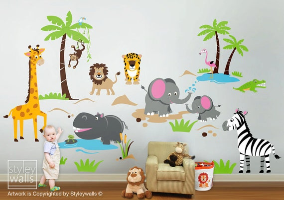 Safari jungle animals huge wall decal set monkey by - Stickers jungle chambre bebe ...