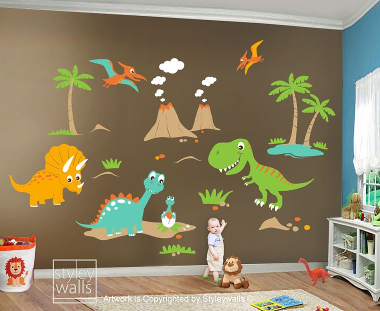Children wall decals dino land dinosaurs wall decal wall for Dinosaur pictures for kids room
