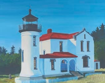 Admiralty Head Lighthouse Paper or Canvas Giclee Print Whidbey Island Puget Sound Washington Pacific Northwest by Carol Thompson