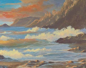 Headlands At Sunset Paper Canvas Giclee Print Seascape Ocean Pacific Northwest Coast by Carol Thompson