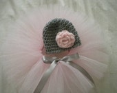 Newborn Baby Girl Tutu and  Matching Flower Hat-Newborn Tutu-Newborn Flower Hat-Pink Tutu-Gray Baby Hat-Infant Tutu-Great Shower Gift -