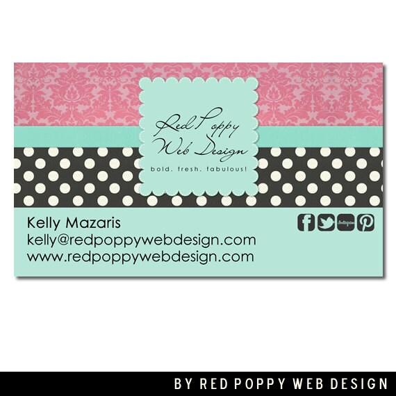 Premade Business Card Design, Digital Business Cards, Vintage Damask Aqua Black Pink, Print at Home or Online Business Card Template