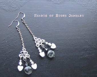 Howlite heart gemstone earrings with picasso serpentine -Opposites Attract- CLEARANCE