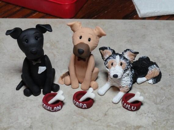 Custom Dog and Dog Bowl Clay Figure