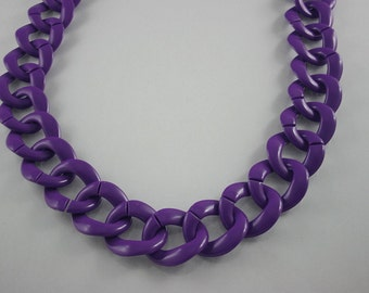 30 inch.Purple Chain Plastic Link Necklace Craft DIY (Round) (Big Size.) CRB9