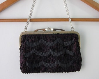 Vintage Black Beaded Purse Hand Bag