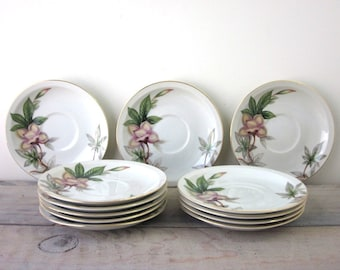 Vintage Meito China Woodrose Saucers Set of 12
