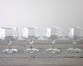 Vintage Etched Glass Compotes Footed Dessert Bowls Set of Four