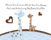 Nursery Art, Kids Wall Art, Baby Boy Room Decor, Children's Room Art, Giraffe, Blue, Brown, I'll Love You Forever, 8x10 Print