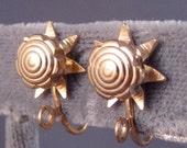 Screw Back Earring Converters Star/ Sun/ Flower Design/Gold Plated/ Change Your Earrings to Screw Backs, Vintage Earring  Finding