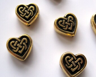 Celtic Heart Beads by TierraCast Antiqued Gold Plated Pewter 4 8mm x 4mm Hearts Celtic Design