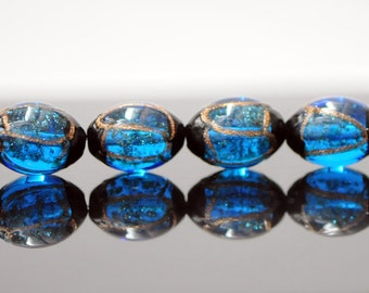 Lampwork Oval Chunky beads Black Gold Blue 17mm -(LL29-8)