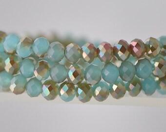 Faceted Rondelle Glass Beads 4x6mm blue  95pcs /BZ0617