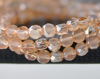 Matte Rondelle Glass Crystal Faceted beads 6mm Champagne -(MB06-5)/ 95pcs