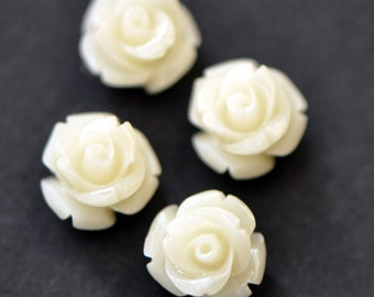 Coral Flower 11mm Rose Cabochon beads White -(SF15-2)/ 20pcs
