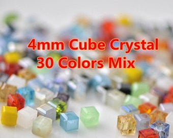 180pcs Cube Crystal Glass Faceted Beads 4mm Mix Set  -MX04
