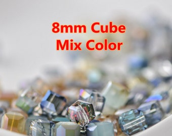 95pcs Cube 8mm Glass Crystal Faceted Beads Mix Color -MX06