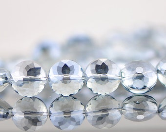 50pcs Crystal Glass Faceted Coin Beads 14mm Sparkly Grey Blue -(TS05-8)