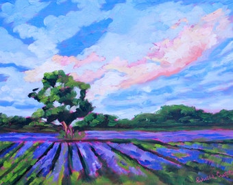 11 x 14 Original Impressionist Oil Painting French Lavender Landscape by Rebecca Croft