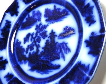 Wedgwood Chapoo Flow Blue Ironstone Plate/ Vintage China/ Collectibles