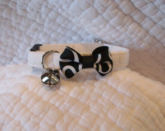 Black White  Bow Tie Cat Wedding Breakaway Collar Custom Made