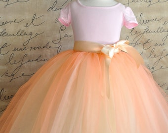 Peach and cream  Flower Girl lined tutu.  Full length sewn tutu.
