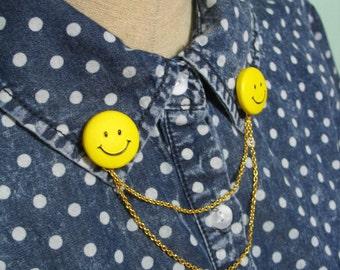 Smiley Face Collar Clips Pins