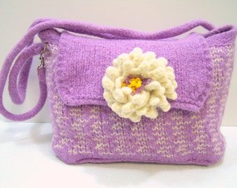 Felted Wool Purple Purse With Flower, Wool Shoulder Bag, Knit Felted Wool Purse, Orchid Boiled Wool Bag, Lavender Bag, Spring Trends Purse