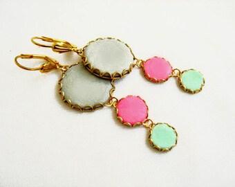Statement Earrings in Mint, Pink, Grey Earrings, Long Dangle Earrings, Polymer Clay Earrings