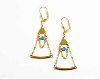 Geometric Statement Earrings, Triangle Brass Earrings,  Blue Jade Earrings, Tribal Inspired Jewelry