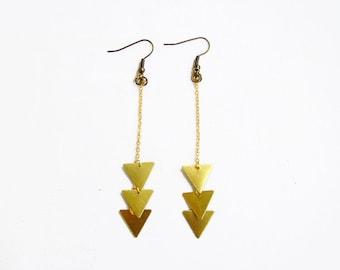 Chevron Geometric Earrings -  Minimalist Triangle Handmade Earrings, Raw Brass Geometric Earrings